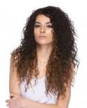 Sepia — Perruque trois-quarts synthétique aux cheveux frisés Capri