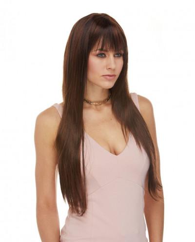 Sepia — Perruque synthétique très longue aux cheveux lisses Jewel Long (brun)