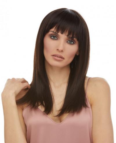 Eleganté — Perruque en cheveux 100% naturels mi-longue et lisse Minnie (brun)