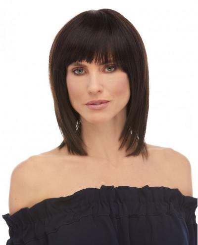 Eleganté — Perruque en cheveux 100% naturels mi-longue au carré Draya (brun)