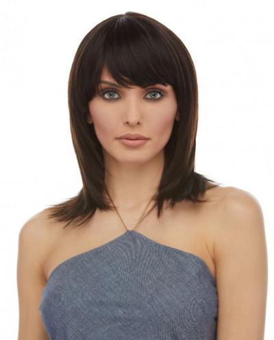 Eleganté — Perruque en cheveux 100% naturels mi-longue Aileen (brun)