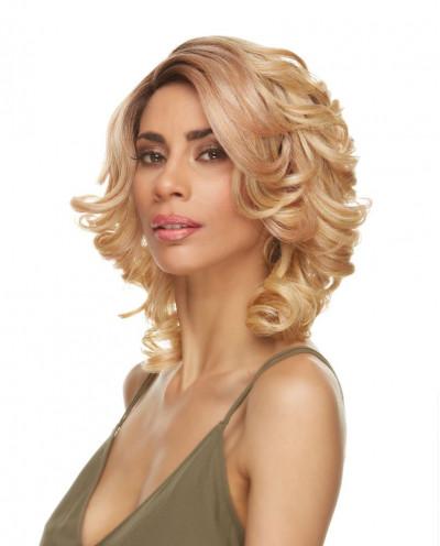 Sepia — Perruque synthétique mi-longue aux cheveux bouclés Estela (blond vénitien)