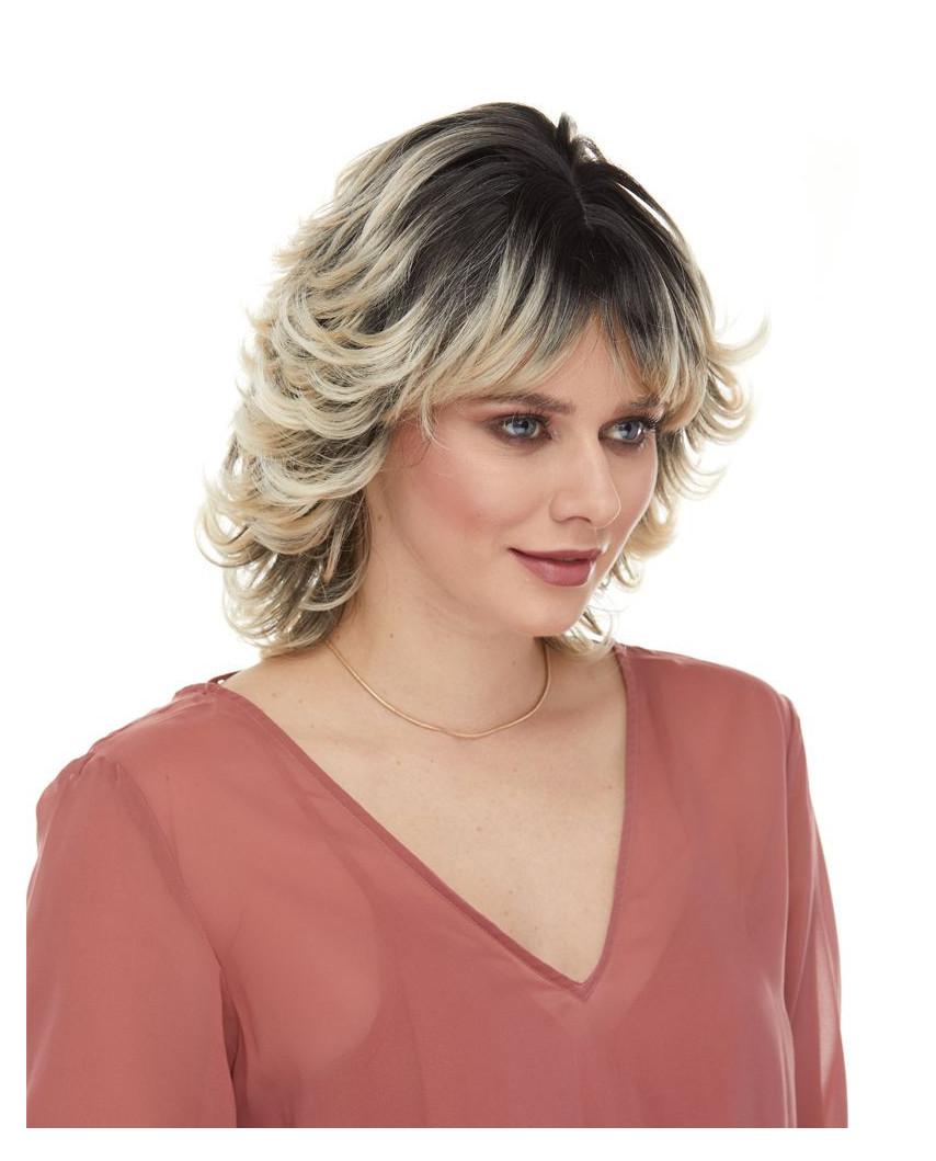 Sepia — Perruque synthétique mi-longue cheveux ondulés Bali
