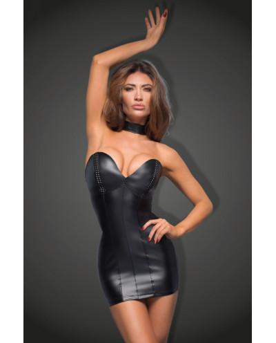Noir Handmade — Mini-robe simili-cuir à balconnets F172