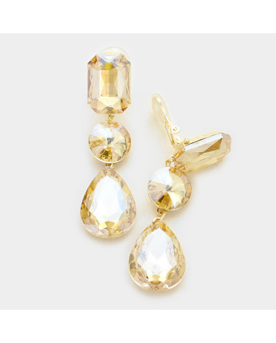 Fashion Jewelry — Boucles d'oreilles à clips triple cristaux