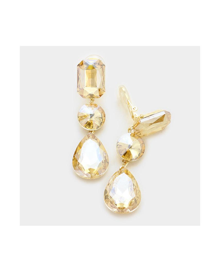 Fashion Jewelry — Boucles d'oreilles à clips triple cristaux