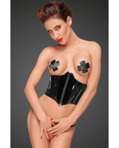Noir Handmade — Serre-taille en vinyle à fermeture éclair F193