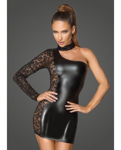 Noir Handmade — Robe asymétrique wet look et dentelle F215
