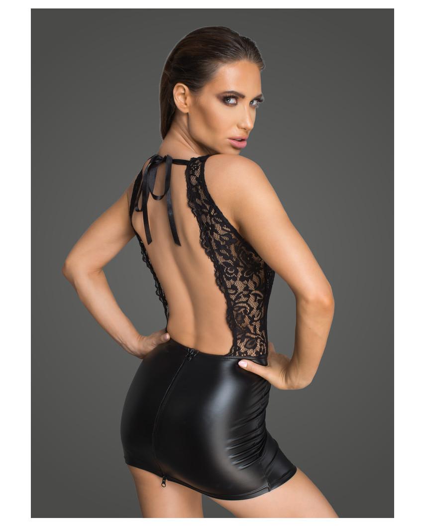 Noir Handmade — Robe courte wet look et dentelle F214