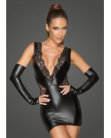 Noir Handmade — Mini-robe dos nu wet look et dentelle F212