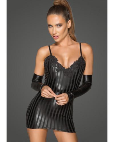 Noir Handmade — Mini-robe wet look et broderies F208