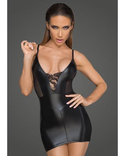 Noir Handmade — Mini-robe wet look et tulle à bretelles F205