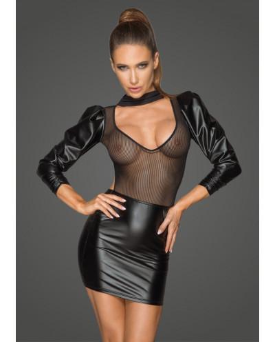 Noir Handmade — Robe wet look à tulle rayé F201