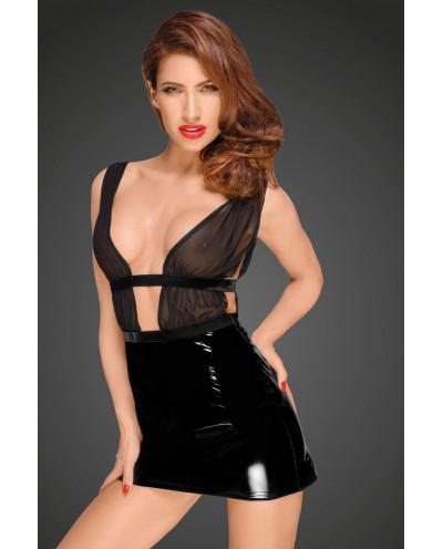 Noir Handmade — Mini-robe vinyle bi-matière F194