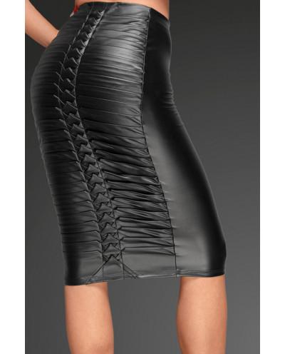 Noir Handmade — Jupe mi-longue wet look F177