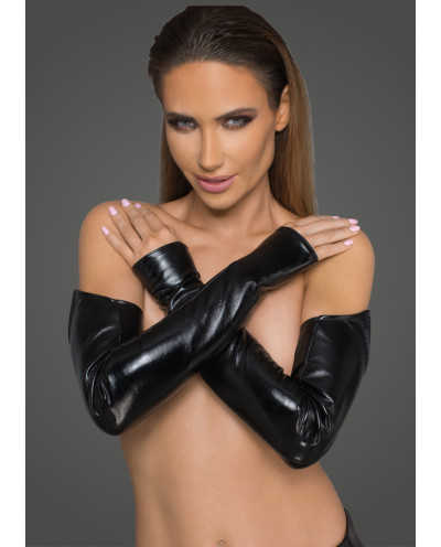 Noir Handmade — Gants longs simili-cuir et wet look F197