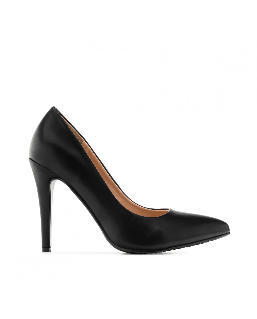 Escarpins à talons stilettos et bout pointu AM5389 - Grande taille (noir mat)