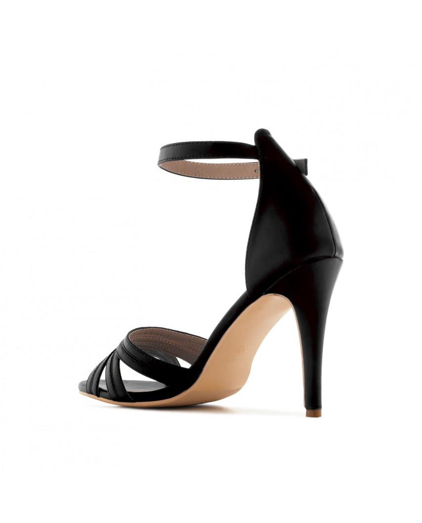 Sandales à talons et à bride de cheville AM5419 - Grande taille (noir mat)