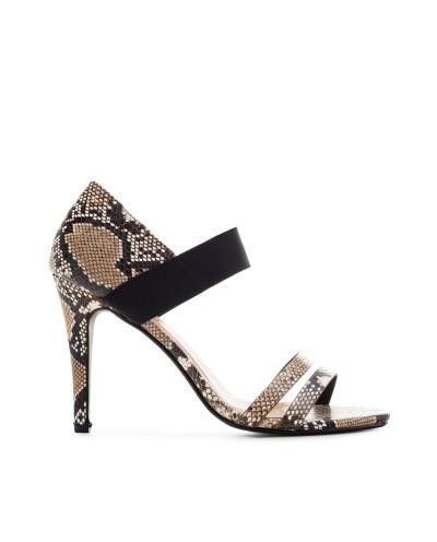 Sandales à talons avec large bride élastique AM5420 - Grande taille (imitation serpent)