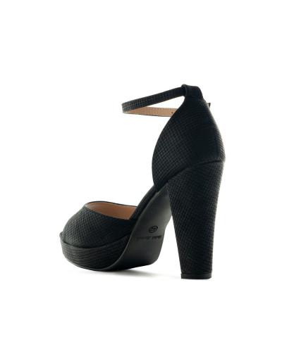 Sandales à talons carrés et bride de cheville AM5468 - Grande taille (noir mat)