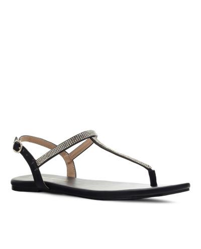 Sandales plates style salomés AM5459 - Grande taille (noir mat)