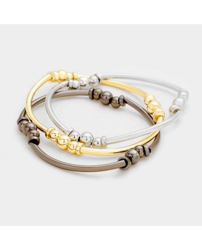 Hush — Trio de bracelets extensibles à billes métalliques