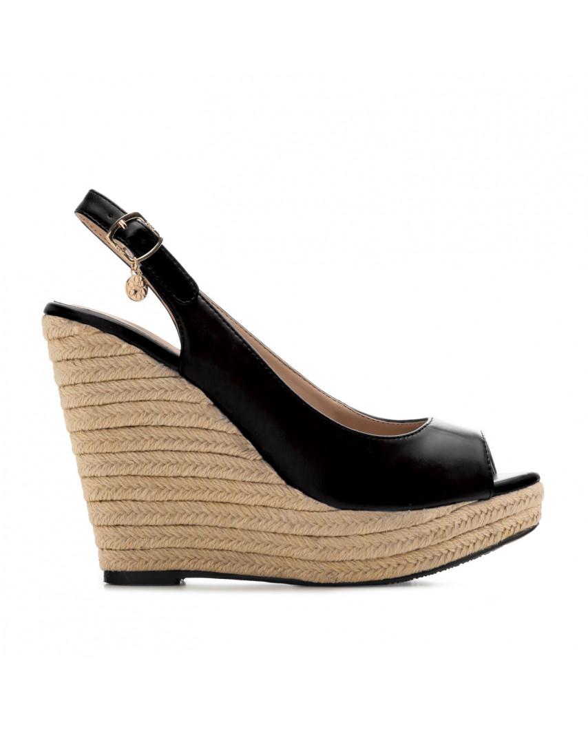 Sandales peep toes à talons compensés AM5429 - Grande taille (noir mat)