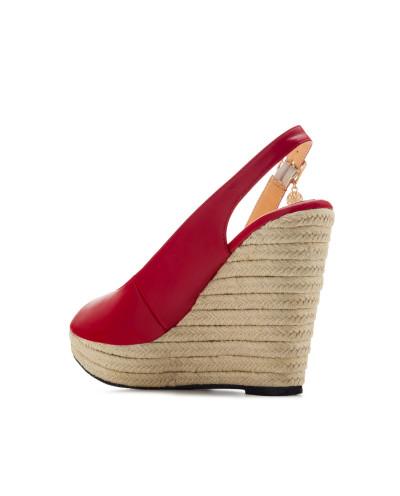 Sandales peep toes à talons compensés AM5429 - Grande taille (rouge mat)