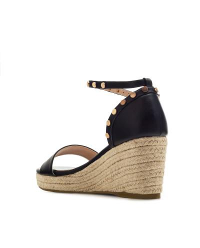 Sandales d'été à petits talons compensés AM5432 - Grande taille (noir mat)
