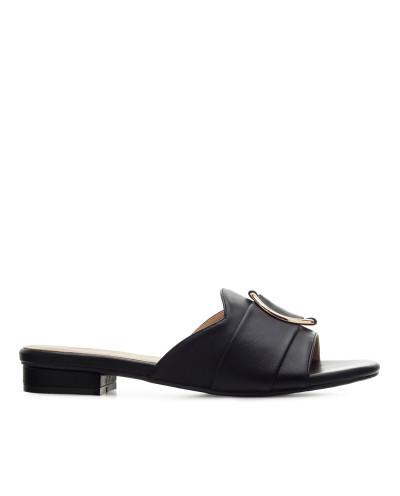 Sandales d'été plates avec boucle décorative AM5458 - Grande taille (noir mat)