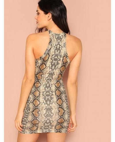 Mini-robe moulante et sans manches à imprimé serpent