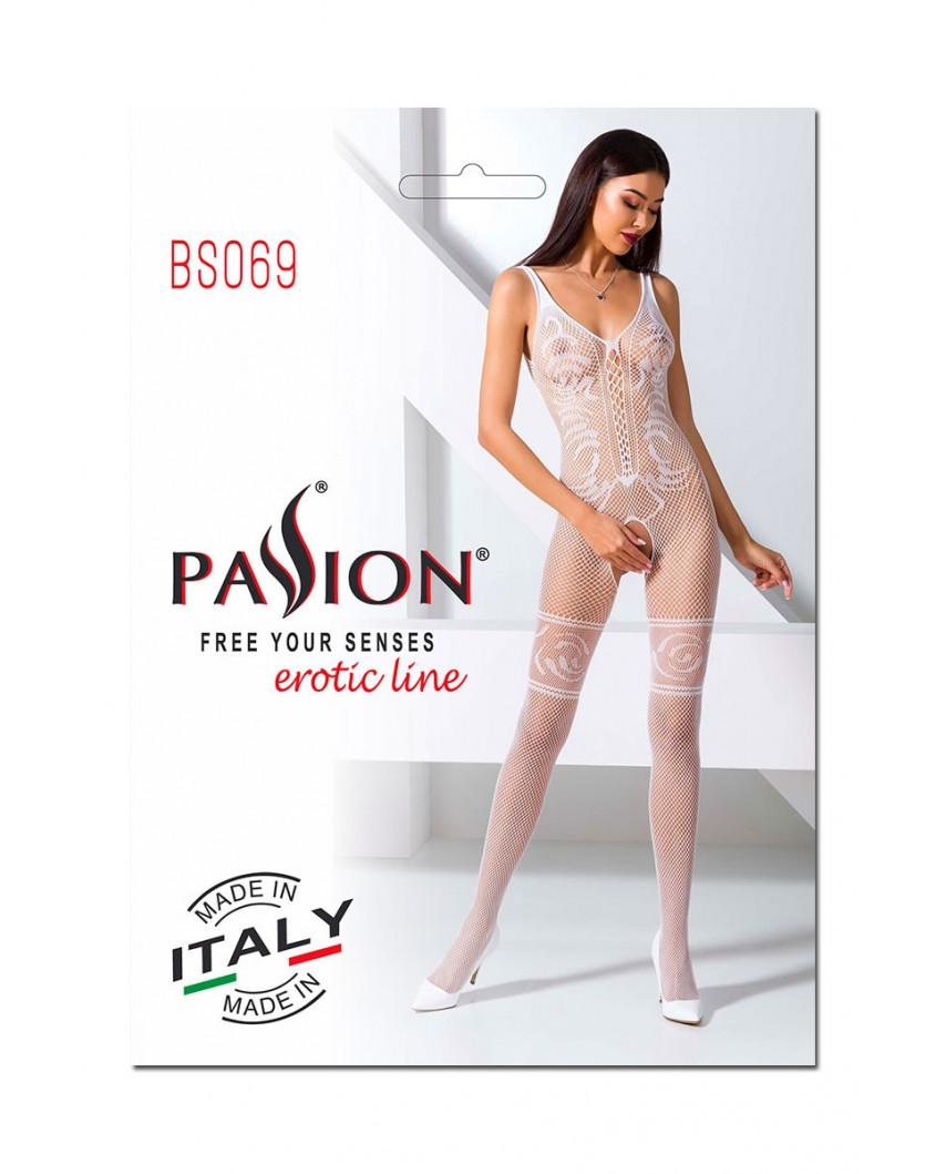 Passion - Combinaison en dentelle BS069 (blanc)