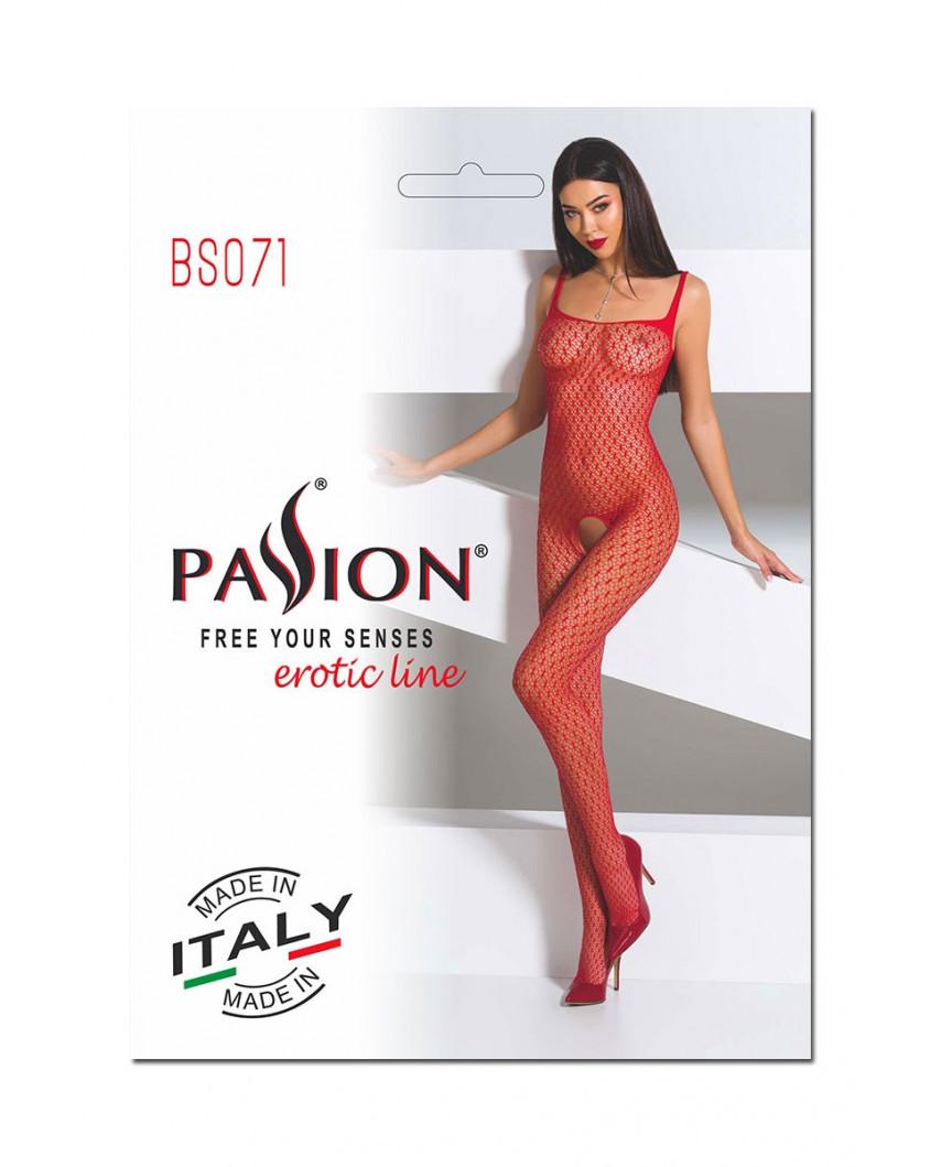 Passion - Combinaison en résille BS071 (rouge)