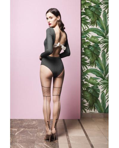 Gabriella — Collants effet bas couture et culotte à pois Lilly