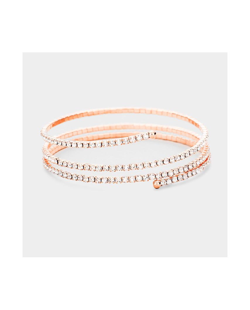 Caris — Bracelet de soirée avec trois rangées de strass