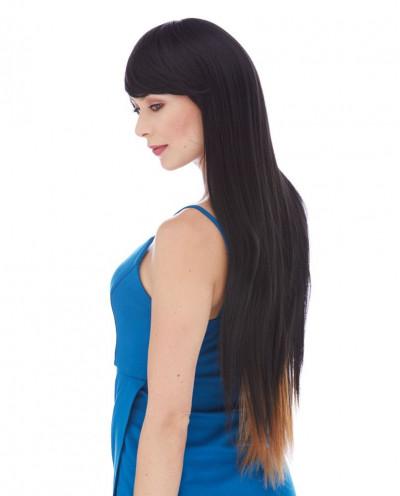 Très longue perruque synthétique à frange balayée Nashville (châtain)