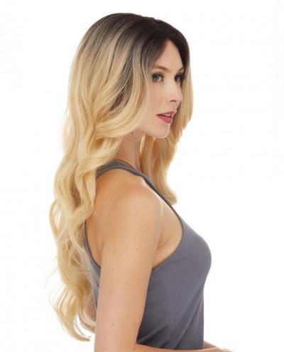 Perruque lace front semi-naturelle ondulée Alison (blond)