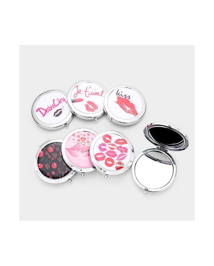 Miroir de poche — Motifs lèvres et baisers