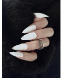 Faux ongles stiletto blancs avec ruban adhésif (24 pièces)