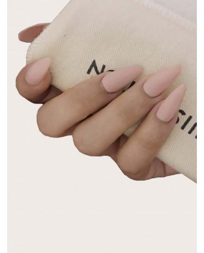 Faux ongles pointus rose avec ruban adhésif (24 pièces)