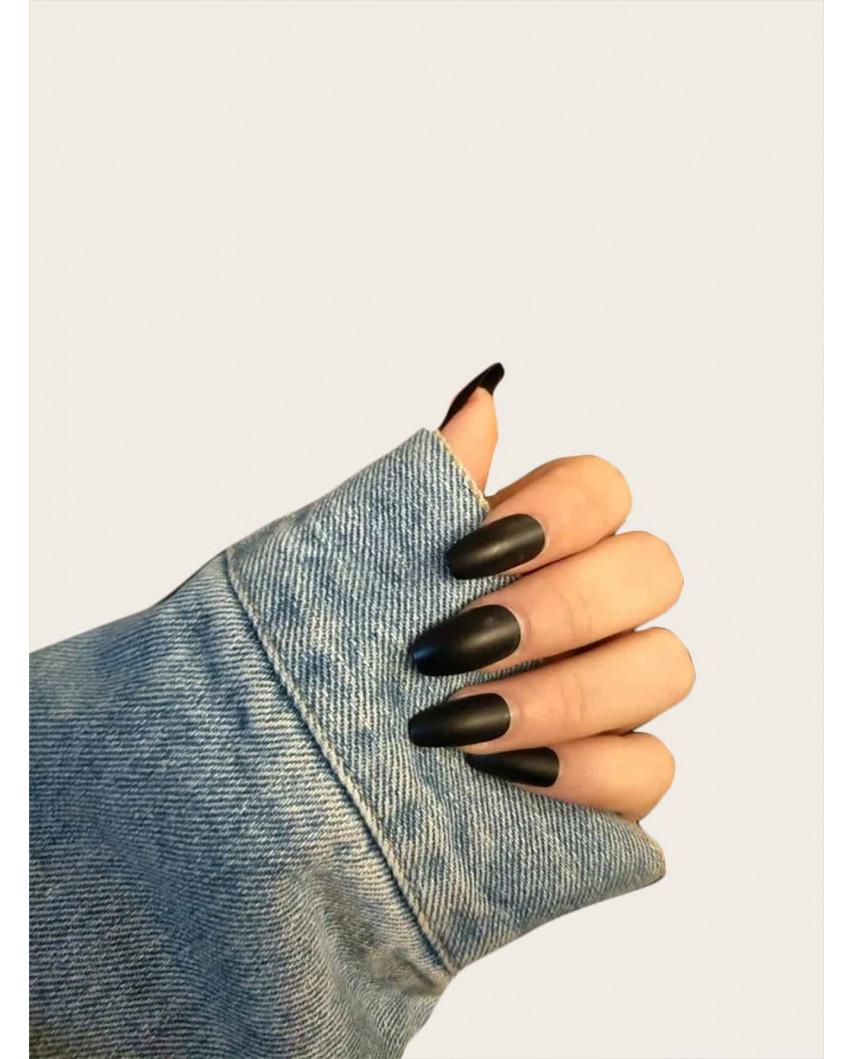 Faux ongles carrés noirs avec ruban adhésif (24 pièces)