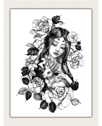 Grand tatouage temporaire et fleuri d'un visage féminin (décalcomanie)