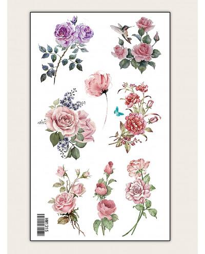 Tatouages temporaires de roses en couleur (décalcomanie)
