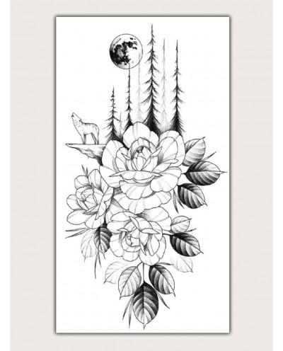 Tatouage temporaire de roses au clair de lune (décalcomanie)
