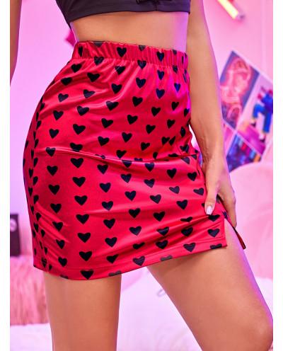 Mini-jupe fendue à imprimé cœurs (rouge)