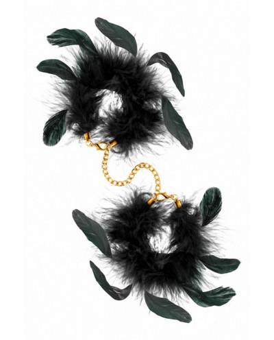 Menottes à plumes noires naturelles