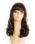 Sepia - Perruque synthétique mi-longue de déguisement pin-up Catherine (châtain)