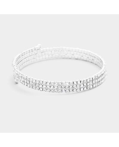 Bracelet de soirée enroulé avec trois rangées de strass