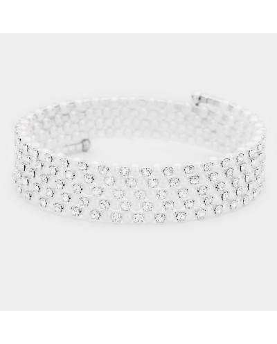 Bracelet ajustable avec cinq rangées de strass et perles