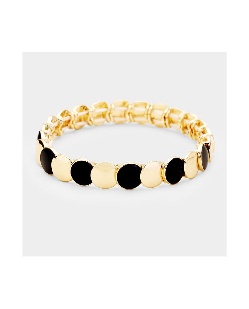Bracelet extensible avec des ronds en métal bicolores